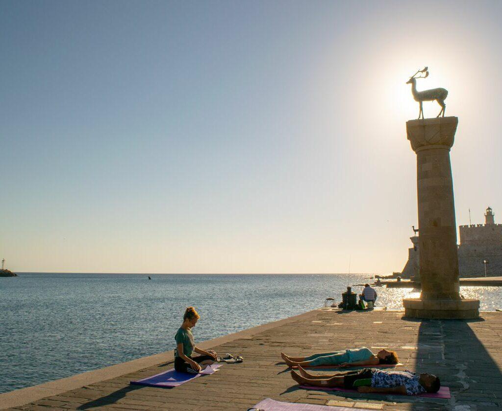sunrise yoga sea
