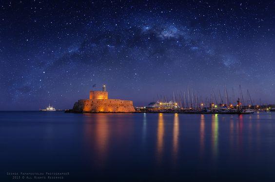 Fort St. Nicholas galaxy night sky rhodes - george papapostolou
